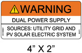 "Solar Warning Label - 4"" X 2"" - 3/16"" Letters - Item #05-211"