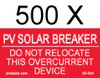 "PV Solar Breaker Label - 2"" x 1"" - 1/4"" Letters - Item #03-344"