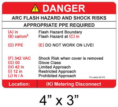 "Arc Flash Danger Label - 4"" X 3"" - Item #05-570"