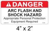 "Danger Arc Flash Label - 4"" X 2"" - Item #05-590"