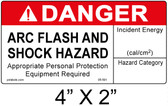 "Danger Arc Flash Label - 4"" X 2"" - Item #05-591"