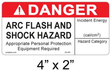 "Danger Arc Flash Label - 4"" X 2"" - Item #05-591"