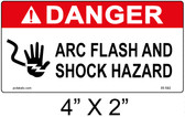"Danger Arc Flash Label - 4"" X 2"" - Item #05-592"