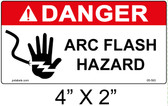 "Danger Arc Flash Label - 4"" X 2"" - Item #05-593"