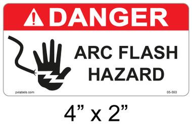 "Danger Arc Flash Label - 4"" X 2"" - Item #05-593"