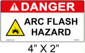 "Danger Arc Flash Hazard Label - 4"" X 2"" - Item #05-594"