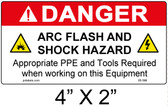 "Danger Arc Flash Label - 4"" X 2"" - Item #05-596"