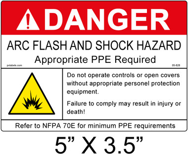 "Danger Arc Flash Label - 5"" X 3.5"" - Item #05-828"