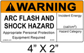 "Warning Arc Flash Label - 4"" X 2"" - Item #05-581"