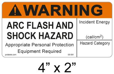 """Warning Arc Flash Label - 4"""" X 2"""" - Item #05-581"""