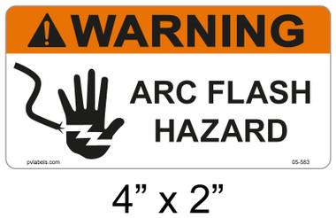 """Warning Arc Flash Label - 4"""" X 2"""" - Item #05-583"""