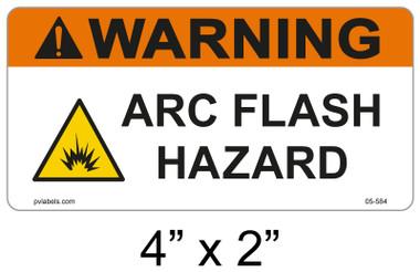"""Warning Arc Flash Hazard Label - 4"""" X 2"""" - Item #05-584"""