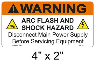 """Warning Arc Flash Label - 4"""" X 2"""" - Item #05-587"""