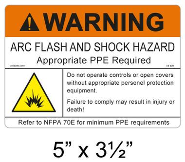 """Warning Arc Flash Label - 5"""" X 3.5"""" - Item #05-838"""