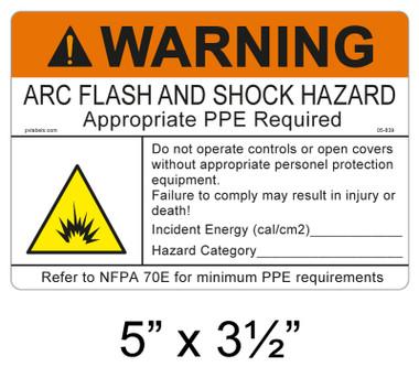 """Warning Arc Flash Label - 5"""" X 3.5"""" - Item #05-839"""