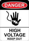 Danger (hand symbol) High Voltage Keep Out, #53-101 thru 70-101