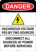 Danger Hazardous Voltage, #53-122 thru 70-122