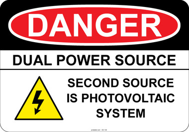 Danger - Dual Power Source- Second Source is Photovoltaic System #53-130 thru 70-130