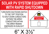 Solar Label - SOLAR PV SYSTEM EQUIPPED WITH RAPID SHUTDOWN - Item #05-113