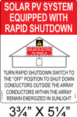 Solar Label - SOLAR PV SYSTEM EQUIPPED WITH RAPID SHUTDOWN - Item #05-114