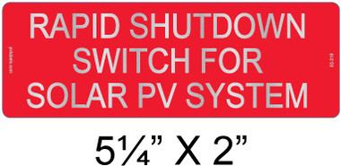 "Reflective Solar Warning Label 5 1/4"" X 2"" - 3/8"" Letters - Item #02-316"