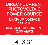 DC Photovoltaic Power Source - Placard - PV Labels #04-612