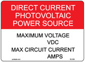 "Direct Current Photovoltaic Power Source Label - 4"" X 3"" - Item #05-209"