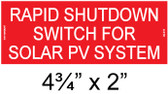 Rapid Shutdown Switch for Solar PV System - Placard - Item #04-316