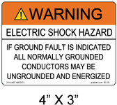 Warning Electric Shock Hazard - .040 Aluminum - Item #07-101
