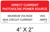 "Direct Current Photovoltaic Power Source Label - 4"" X 2"" - Item #05-208"