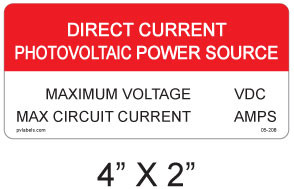 """Direct Current Photovoltaic Power Source Label - 4"""" X 2"""" - Item #05-208"""