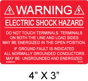 "PV Solar Warning Label - 4"" x 3"" - 3/16"" Letters - Item #03-115"