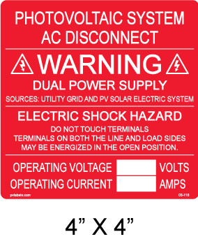 """PV Solar Warning Label - 4"""" x 34"""" - Red with white letters - Item #03-116"""