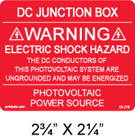 "PV Solar Warning Label - 2.75"" x 2.25"" - Red with white letters - Item #03-218"