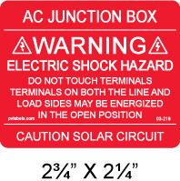 """PV Solar Warning Label - 2.75"""" x 2.25"""" - Red with white letters - Item #03-219"""