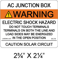 "PV Solar Warning Label - 2.75"" x 2.25"" - ANSI - Item #05-219"