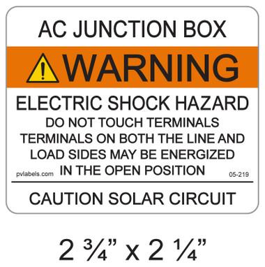 """PV Solar Warning Label - 2.75"""" x 2.25"""" - ANSI - Item #05-219"""