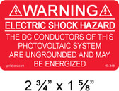 "Solar Warning Label - 2 3/4"" X 1 5/8"" - Item #03-346"