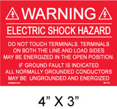 "Solar Warning Placard - 4"" x 3"" - PV Labels #04-115"
