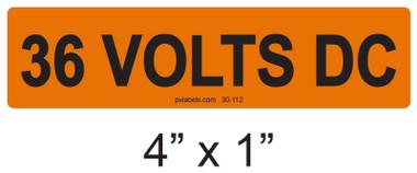 36 VOLTS DC - PV Labels #30-112