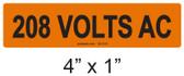 208 VOLTS AC - PV Labels #30-318