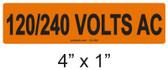 120/240 VOLTS AC - PV Labels #30-354