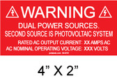 "Solar Warning Placard - 4"" x 2"" - Item #04-616"