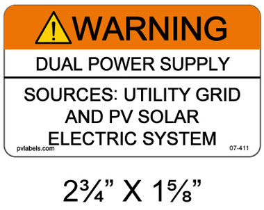 Warning Dual Power Supply - .040 Aluminum - Item #07-411