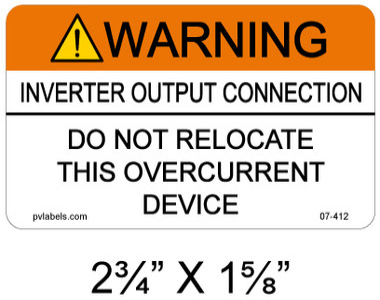 Warning Inverter Output Connection - .040 Aluminum - Item #07-412