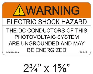 Warning Electric Shock Hazard - .040 Aluminum - Item #07-346