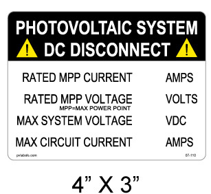 Photovoltaic System DC Disconnect Sign 07-110| PV Labels