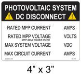 PV Solar DC Disconnect - .040 Aluminum - Item #07-110