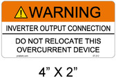 Warning Inverter Output Connection - .040 Aluminum - Item #07-212