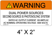 Warning Dual Power Sources - .040 Aluminum - Item #07-616